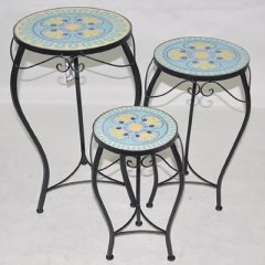 Plant stands made of metall, covered with mosaic