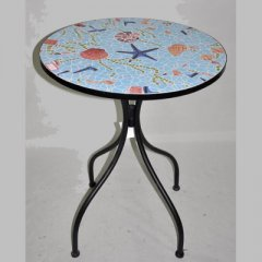 Table made of metall, covered with mosaic