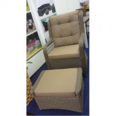 PE Rattan Relax Sessel mit Hocker