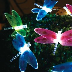Solar-powered light chain with dragonflies