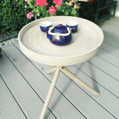 Tray table made of rattan