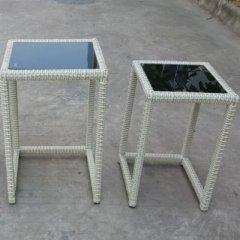 Tische Set Polyrattan mit Glasplatte