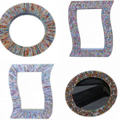 Handicraft mirrors made of recycling paper